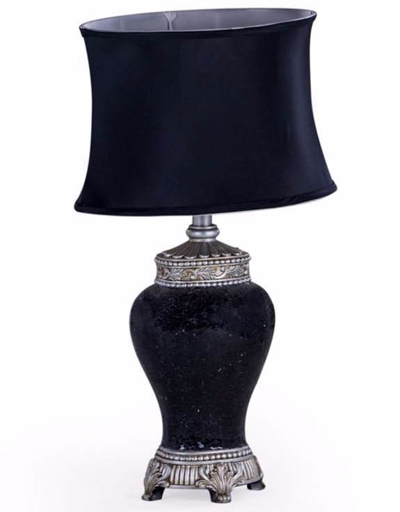 Black Mosaic Style Lamp With Black Oval Shade Hodsons