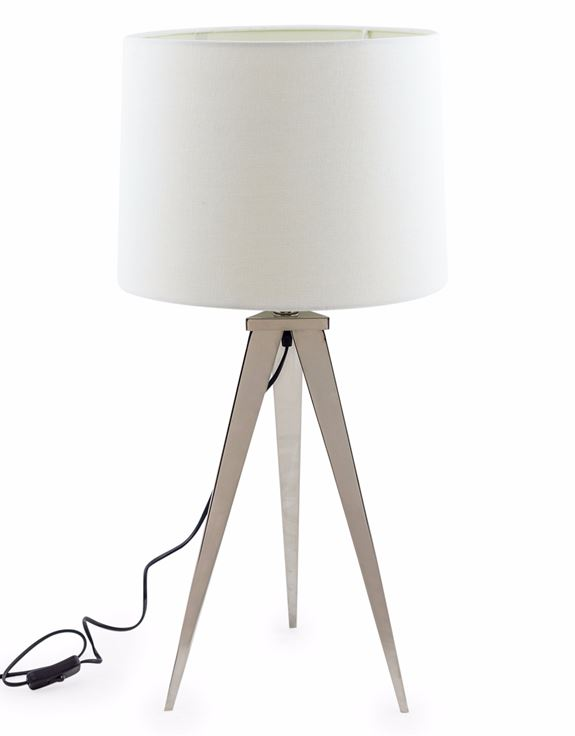 CHROME ARROW TRIPOD TABLE LAMP WITH WHITE SHADE