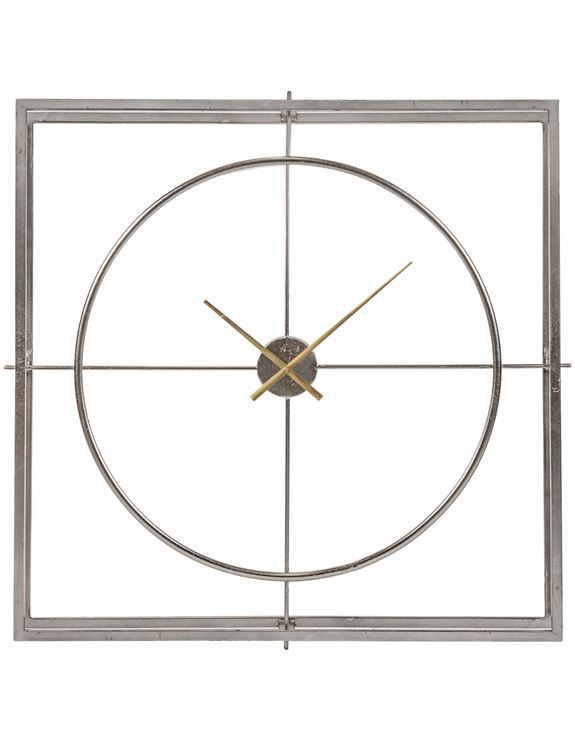 LARGE SILVER LEAF WITH GOLD HANDS SQUARE DOUBLE FRAME CLOCK – Hodsons