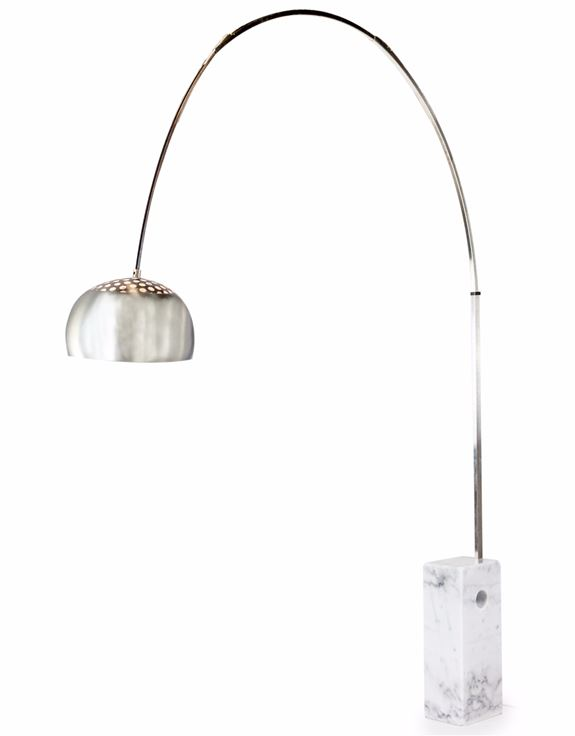 Large Steel Arc Lamp With White Block Marble Base