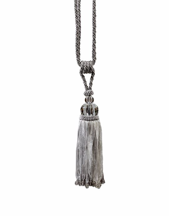 SILVER GREY WITH GLASS BALL TASSEL CURTAIN TIEBACKS