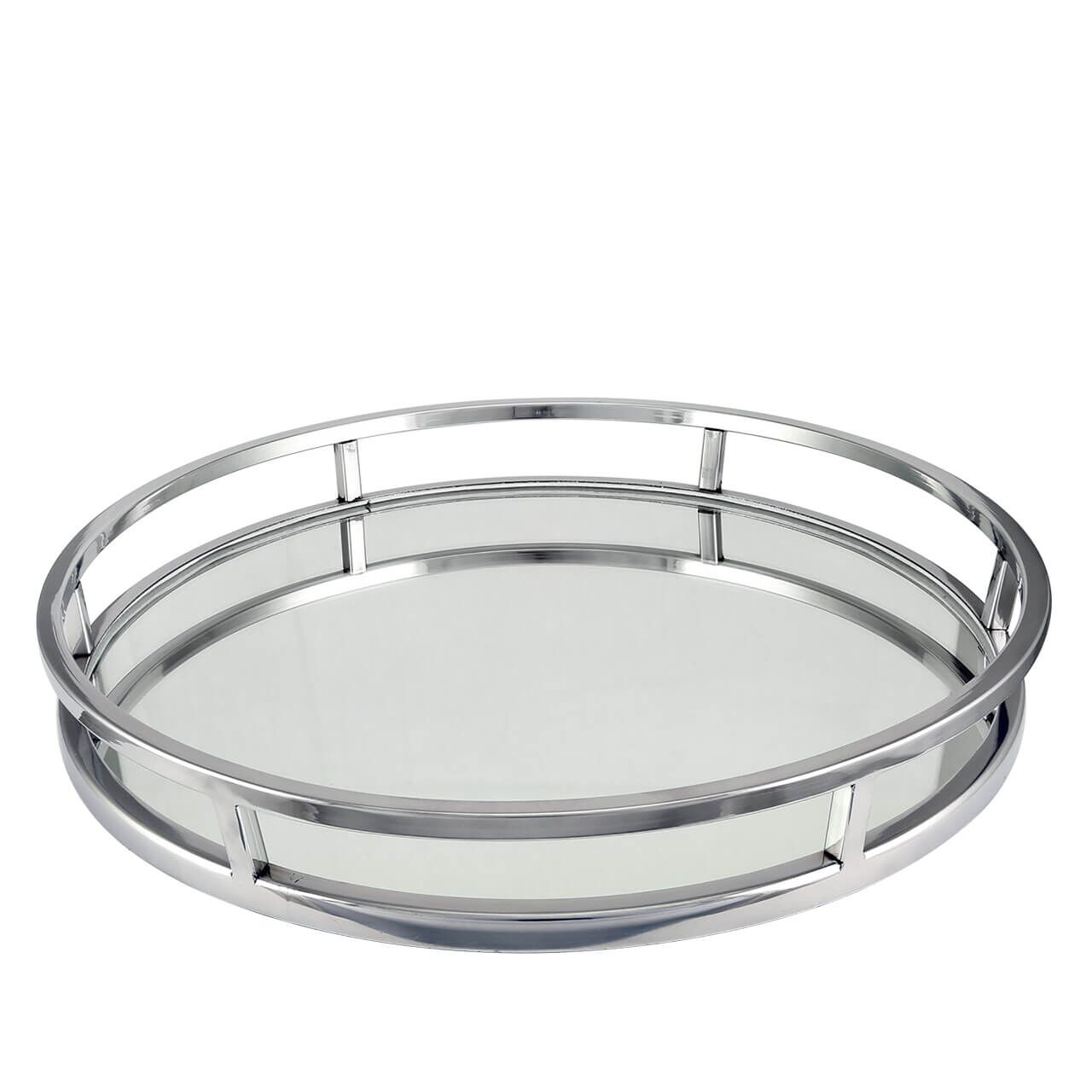 Large Round Nickel Mirror Tray Hodsons
