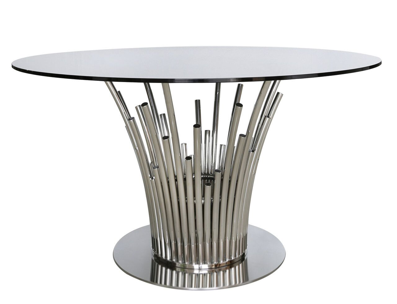 Premium Loz Metal Glass Dining Table Polished Steel