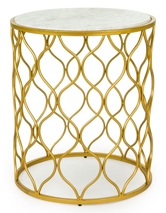 Gold Leaf Metal With White Marble Set Of 2 Side Tables